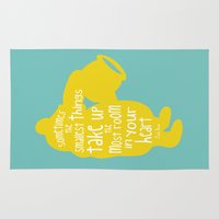 winnie the pooh Area & Throw Rugs featuring Sometimes the Smallest things - Winnie the Pooh inspired Print by Kitchen Bath Prints
