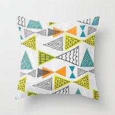 Geometric Mid Century Modern  Triangles Throw Pillow