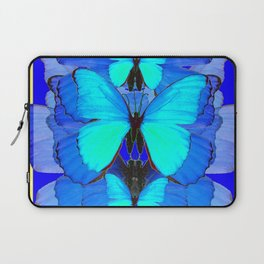DECORATIVE BLUE SATIN BUTTERFLIES YELLOW PATTERN ART Laptop Sleeve