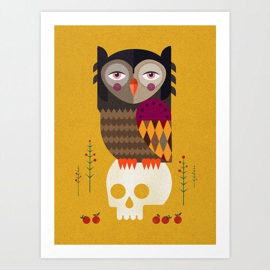 Owl with Skull Art Print