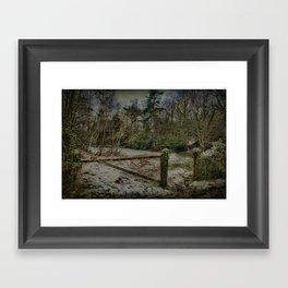 Gate To Frozen Pond Framed Art Print