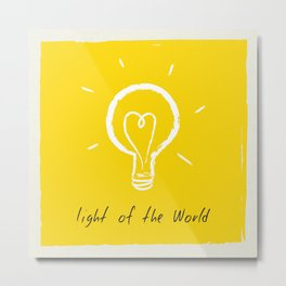 Light of the World - yellow Metal Print