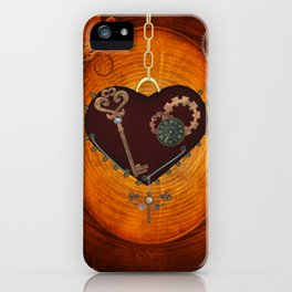 Steampunk, heart with gears iPhone Case
