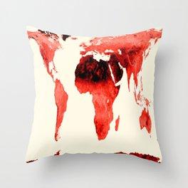 World Map brick red Throw Pillow