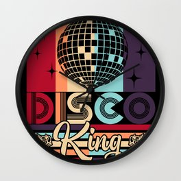Disco King 1970s Vintage 70s Dance Party Gift Wall Clock