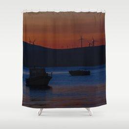 Sunset on the turkish aegean sea Shower Curtain
