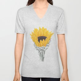 Sunflower 01b Botanical Flower Unisex V-Neck