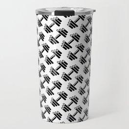 Dumbbellicious / Black and white dumbbell pattern Travel Mug