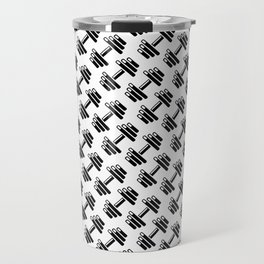 Dumbbellicious / Black and white dumbbell pattern Travel Mug