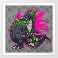 kaiju Art Prints featuring Kaiju Senior Kaiju Junior by firestarterdesign