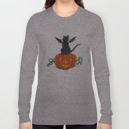 Pirate-Bat-Cat { + Pumpkin Pal Jack O Lantern . Halloween }   Long Sleeve T-shirt