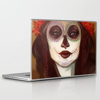 sugar skull Laptop & iPad Skins featuring Sugar Skull by LaurenceBaldetti