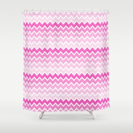 Pink Ombre Chevron Shower Curtain