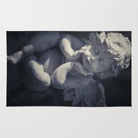religious Area & Throw Rugs featuring Cherub by Maria Heyens