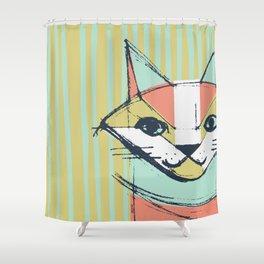 Cubist Cat Study #10 by Friztin Shower Curtain