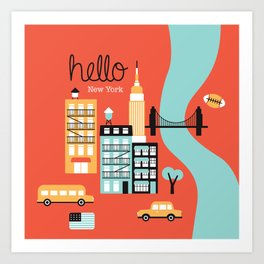 Hello New York - retro manhattan NYC icons illustration Art Print