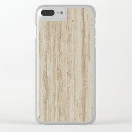 Beige Travertine Stone Texture Clear iPhone Case