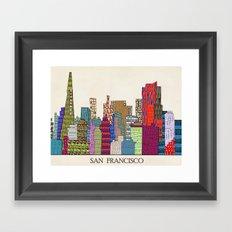 San Francisco city skyline Framed Art Print