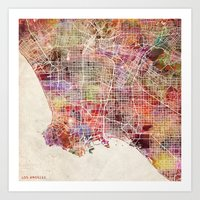 los angeles Art Prints featuring Los angeles by MapMapMaps.Watercolors