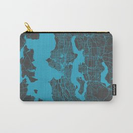 Seattle map blue Carry-All Pouch