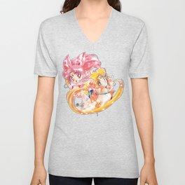 Super Sailor Moon & Chibi Moon (edit 1/B) Unisex V-Neck