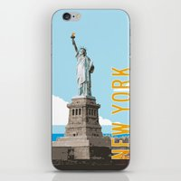travel poster iPhone & iPod Skins featuring New York Travel Poster by Michael Jon Watt