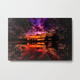 Sunrise on the Scituate Reservoir Landscape Painting by Jeanpaul Ferro Metal Print