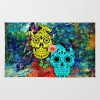 sugar skulls Area & Throw Rugs featuring Sugar Skulls by haroulita