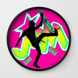 Be a Star with Neon Pink & Yellow Girly JEM   Rock On 80s Synth style Wall Clock