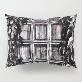 Black White Old Door Pillow Sham