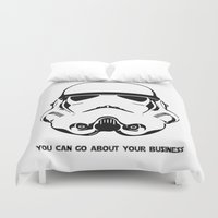 storm trooper Duvet Covers featuring Trooper by C Liza B