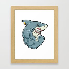 Shark At The Gym | Fitness Training Muscles Framed Art Print