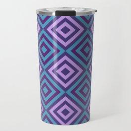 Blue and Purple Geometric Diamonds Digital Pattern Travel Mug