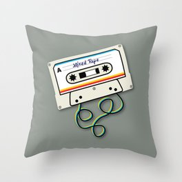 Mixed Tape Throw Pillow
