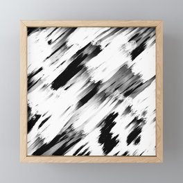 Modern Abstract Black White Brushstroke Art Framed Mini Art Print