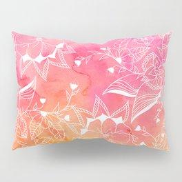 Modern summer pink orange sunset watercolor floral hand drawn illustration Pillow Sham