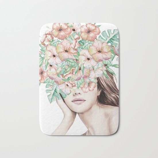 She Wore Flowers in Her Hair Island Dreams Bath Mat