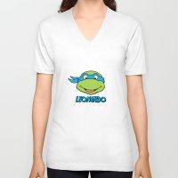 leonardo V-neck T-shirts featuring Leonardo by husavendaczek