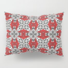 Red Black Grey and White Repeat Tile Pattern Pillow Sham