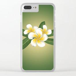 White plumeria Clear iPhone Case