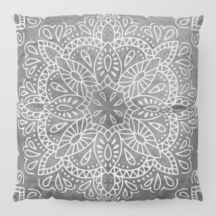 Mandala Vintage White on Ocean Fog Gray Floor Pillow by naturemagick ...