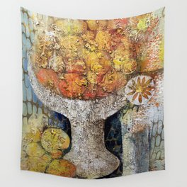 Materic composition of yellows and oranges Wall Tapestry