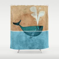 moby dick Shower Curtains featuring moby by John Beswick