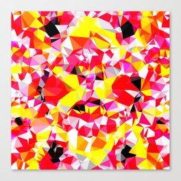 psychedelic geometric triangle polygon abstract pattern in red pink yellow Canvas Print