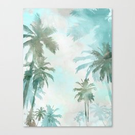 Aqua Blue Watercolor Palm Trees Canvas Print