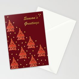 Burgundy Christmas Tree Stationery Cards