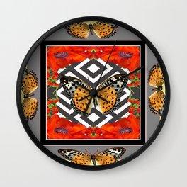 RED POPPY TIGER BUTTERFLIES PATTERNS ART Wall Clock