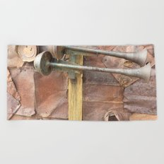 Rusty metal horns Beach Towel