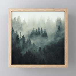 Misty pine forest on the mountain slope in a nature reserve Framed Mini Art Print