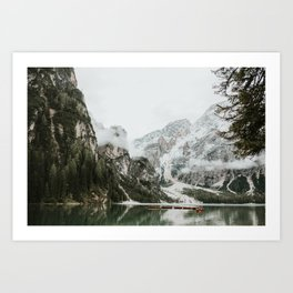 Lago di Braies, Dolomites | Colourful Travel Photography | Dolomiti, Italy (Europe) Art Print